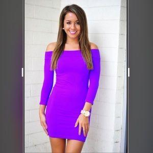 NikiBiki Neon Purple off Shoulder Dress